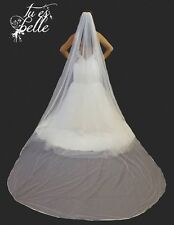 "Ivory 120""  Long Cathedral Veil 1 Tier Bridal Wedding With Crystals Satin Edge"