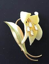"Vintage Brooch - 1940's Yellow Celluloid ""Lily"" pin with Diamante center"
