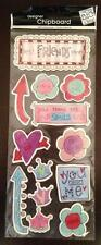 New 13 Piece Self Adhesive Doodle Best Friends Glitter Chip Board Scrapbooking