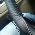 DIY Car Steering Wheel Cover With Needles and Thread Black PU Leather
