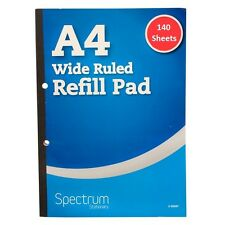 A4 Refill 140 Sheets Wide Ruled Lined Writing Pad Pack Book Quality Margin