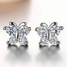 925 Sterling Silver Women Fashion Butterfly Crystal Jewelry Ear Stud Earrings