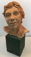 Large Clay Sculpture Signed & Dated  Young Man With Dreads Talented Work