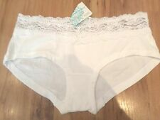 NEW WITH TAGS WHITE LOW RISE KNICKER SHORT SIZE 10 M&S COTTON/LACE