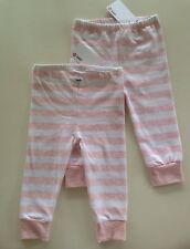 2 x PAIRS OF GIRLS STRIPPED LEGGINGS sz 6-12 months bnwt