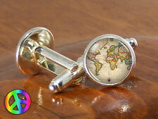 Mens Cufflinks World Map Silver Vintage Antique Cuff Links Jewelry Gift Gifts 9
