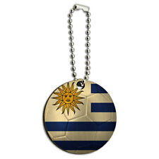 Uruguay Flag Soccer Ball Futbol Football Wood Wooden Round Key Chain