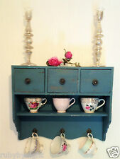 Shabby Chic 3 Drawer Wall Chest Cabinet Cupboard Vintage Blue Display Unit Shelf