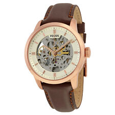 Fossil Townsman Automatic Beige Skeleton Dial Rose Gold-tone Mens Watch ME3078