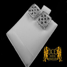 NEW Unisex 14K White and Black Cz on Yellow Gold Finish Micro Pave Stud Earrings