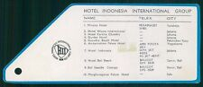 INDONESIA INTERNATIONAL GROUP Hotel old luggage tag label JAKARTA Indonesia Asia