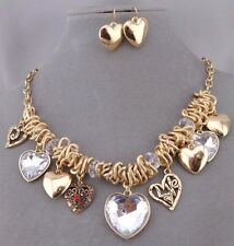 Gold Crystal And Red Rhinestone Heart Dangle Necklace Set Fashion Jewelry NEW