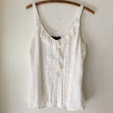 White House Black Market Pintuck Silk Ruffle Off White Sleeveless Shirt NWT sz M