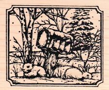 New NORTHWOODS RUBBER STAMP Winter hares bunnies mailbox Christmas free USA ship