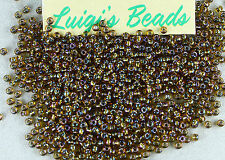 11/0 Round TOHO Japanese Glass Seed Beads #276-Rainbow Topaz/Gold Lined 15g