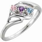 Sterling Silver Mother's Ring 1 to 5 Round Birthstones Mom's family Jewelry Gift