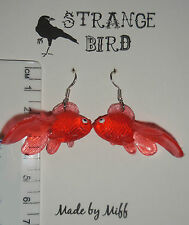 Goldfish glam! earrings fish aquatic pond fishy carp funky weird cute red orange