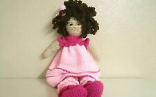 "Amigurumi Handmade Crochet Doll Toy 23"" w/Pink clothes Brown Curly Hair ~New~"