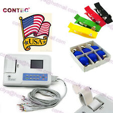 US Seller!FDA Portable ECG/EKG machine 12-Leads 3-Channel+Printer&Paper,Software