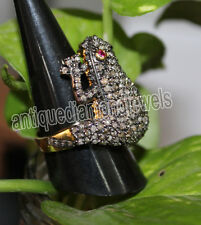 FROG !! 3.65ct ROSE CUT DIAMOND & RUBY VINTAGE STYLE RING