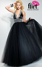 NWT Flirt by Maggie Sottero P1609 Blacks Gold $498 Prom Gown 6