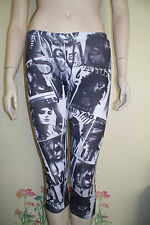 """NWOT Glamour Vouge Pictures """" 3 Sixteen """"  Black Gray and White Leggings M"""