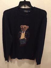 NEW Ralph Lauren Polo Navy Preppy Teddy Bear Sweater Size XL Extra Large $265