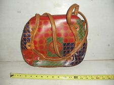Old Vintage 60s 70s Hand Tooled Leather Hippie Handbag