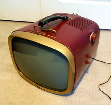 RCA VICTOR 14-PD-8053 Vintage Portable TELEVISION TV - MAROON - WORKS!