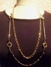 (TWO) AWESOME Vintage Goldtone Link Chains w/SMOKY GLASS Accents Necklace 13N16