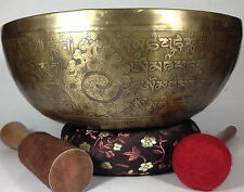 Tibetan Vajra Carved Handmade meditation and Concentration Relaz Singing Bowl