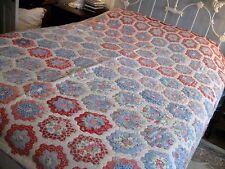 LARGE Antique/Vintage GRANDMA'S FLOWER GARDEN HANDMADE QUILT-Blue Red Pink-86x86