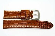 22MM BROWN ALLIGATOR GRAIN STITCHED GORGEOUS LEATHER WATCH BAND STRAP