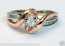 White Rose Gold Two Tone Vintage Style bypass Shank Engagement Promise Ring 10k