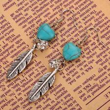 Lady Turquoise Heart Tibetan Silver Feather Shape Dangle Hook Earrings