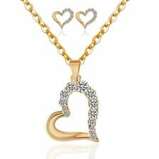 Women Crystal Heart Pendant Jewelry Sets Rhinestone Necklace And Earrings Kit