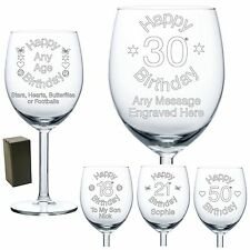 Personalised Wine Glass Engraved Birthday Gift 70th 80th 85th Friend For Her Him