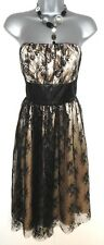 Stunning M&S Autograph Black & Gold Lace Strapless Evening Occasion Dress 14