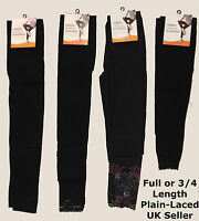 Ladies Women Stretch Full Length ¾ Leggings Black Lace Trim Footless Legwear New