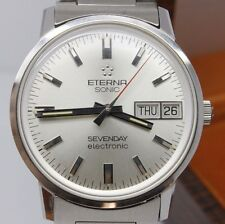 VINTAGE Eterna Sonic Sevenday Electronic 35mm Steel Mens Watch w Box NOS Unworn
