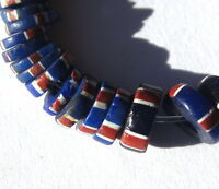 40 RARE OLD SMALL COBALT STRIPED VENETIAN SLICES TRADE BEADS