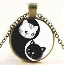 Vintage Ying and Yand Cat Cabochon Glass Bronze Chain Pendant  Necklace#2378