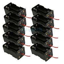 "Lot 10 Pcs 4X AA/2A Battery 6V Clip Holder Storage Box Case 6"" Leads Wire Black"