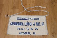 Vintage Carpenter's Apron Greensburg Lumber Mill Pennsylvania 1920s Weyerhaeuser