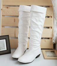 2015 Womens Warm Low Heel Pleated Knee High Riding Pull On PU Leather Boots SZ