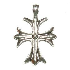 M763f Antiqued Silver Finished Pewter 20x18mm Cross Focal Pendant Charm 10/pkg