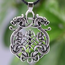 Norse Viking Double Dragon Pendant Necklace