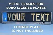 Metal Frame Holder For European Euro License Plate Steel Your Text Coat of Arms