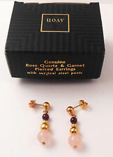 AVON GENUINE ROSE QUARTZ  & GARNET PIERCED EARRINGS W/ SURGICAL STEEL POSTS NOS