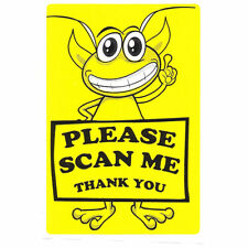 "Glossy Yellow Alien ""Please Scan Me Thank You"" Labels Stickers- 3"" by 2"" - 50 ct"